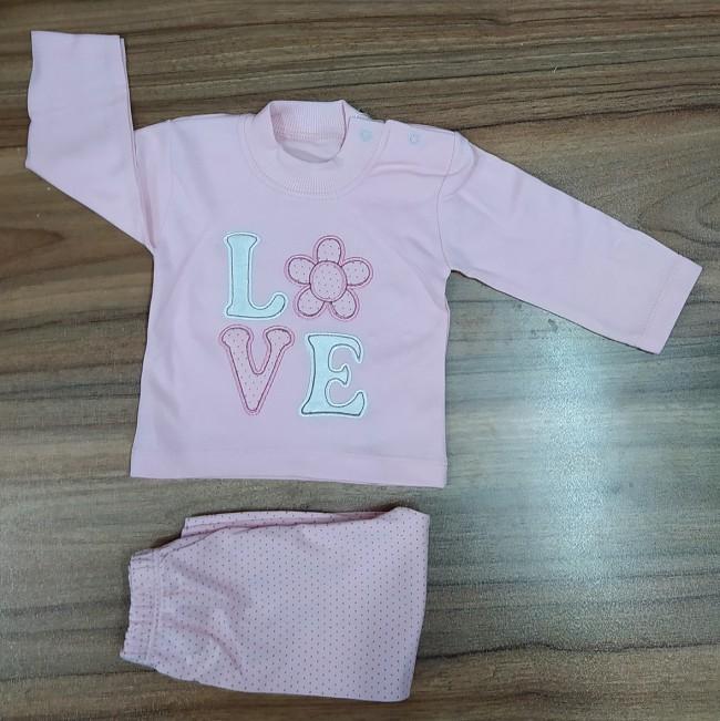 بلوز شلوار نوزادی برند الیزابت طرح لاو 2204146